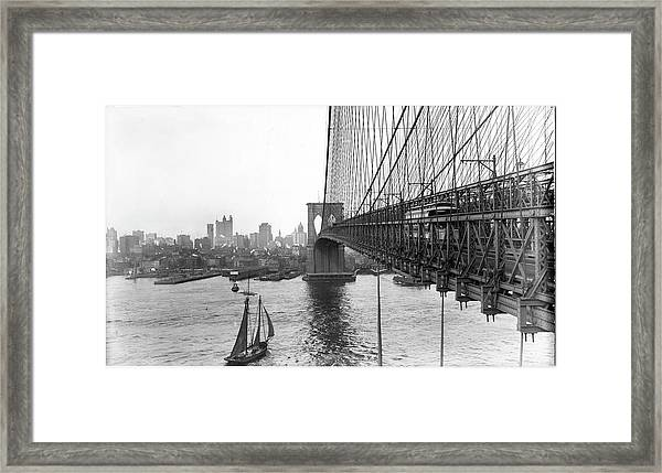 View Of Lower Manhattan From Brooklyn Framed Print