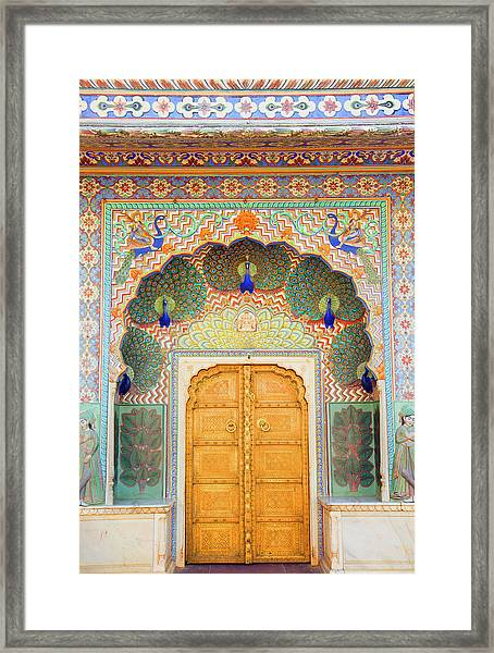 View Of Peacock Door In Palace Framed Print