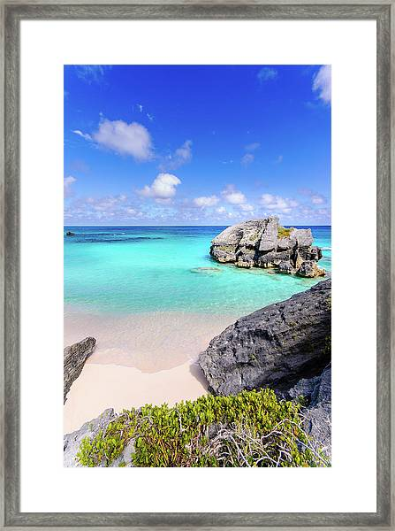 View Of Rock On Beach Framed Print