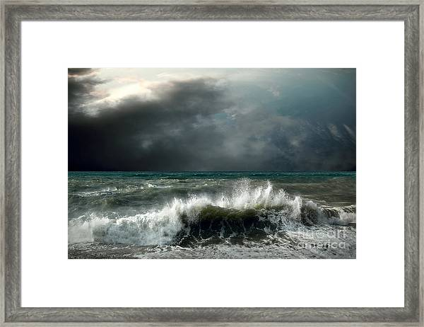 View Of Storm Seascape Framed Print