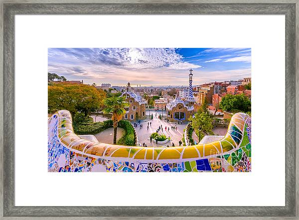 View Of The City From Park Guell In Framed Print by Georgios Tsichlis
