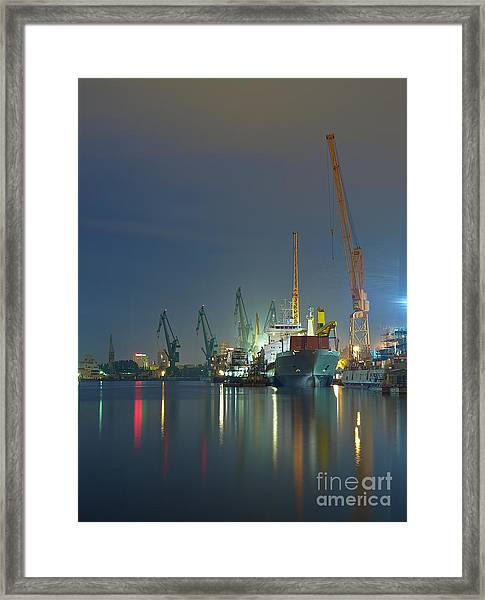 View Of The Quay Shipyard Of Gdansk Framed Print