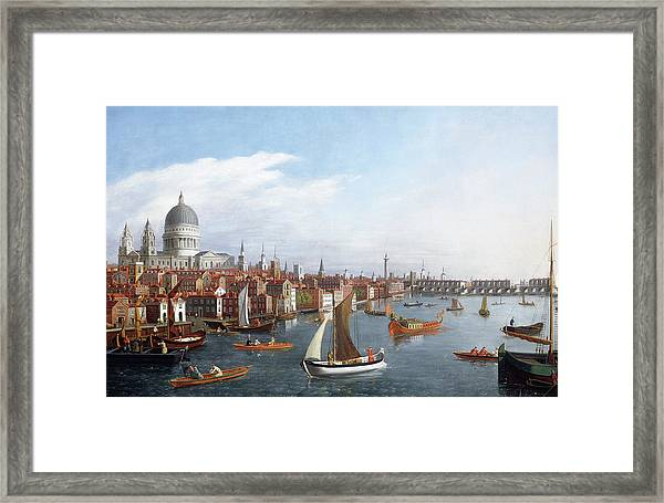 View Of The River Thames With St Paul's And Old London Bridge Framed Print