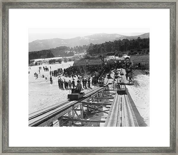 View Of The Skimobile At The Cranmore Framed Print