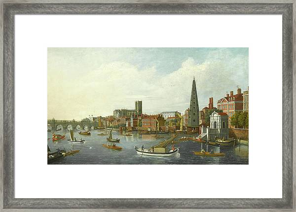 View Of The Thames At Westminster Framed Print