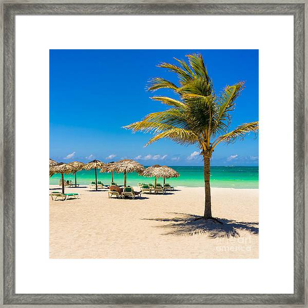 View Of Varadero Beach In Cuba With A Framed Print