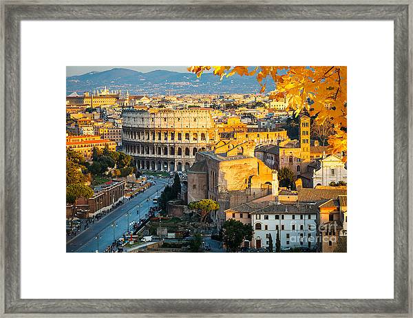 View On Colosseum In Rome, Italy Framed Print