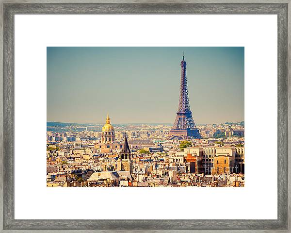 View On Eiffel Tower, Paris, France Framed Print