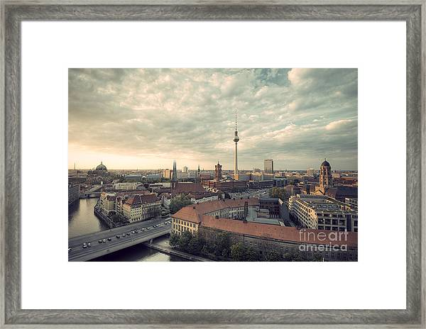 View Over Berlin Mitte At Evening Framed Print
