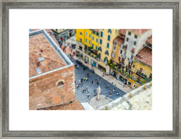 View Over Piazza Delle Erbe Markets Framed Print