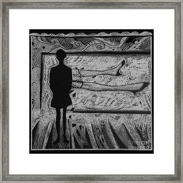 Viewing Supine Woman. Framed Print