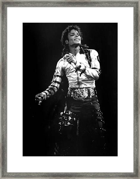 Views Of Michael Jackson Concert During Framed Print