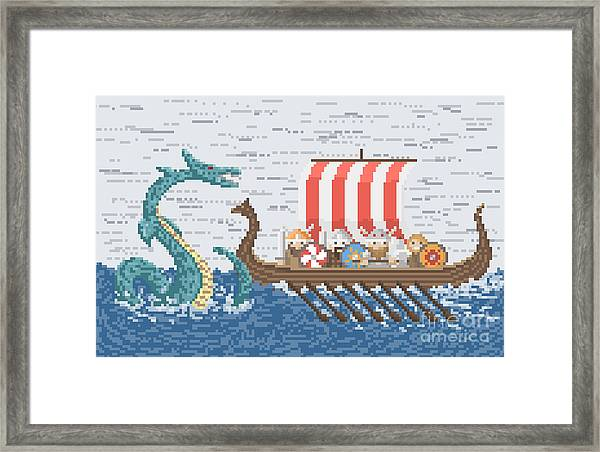 Vikings Battle With The Sea Dragon Framed Print