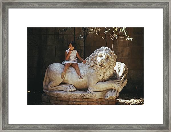 Villa Borghese Lion Framed Print