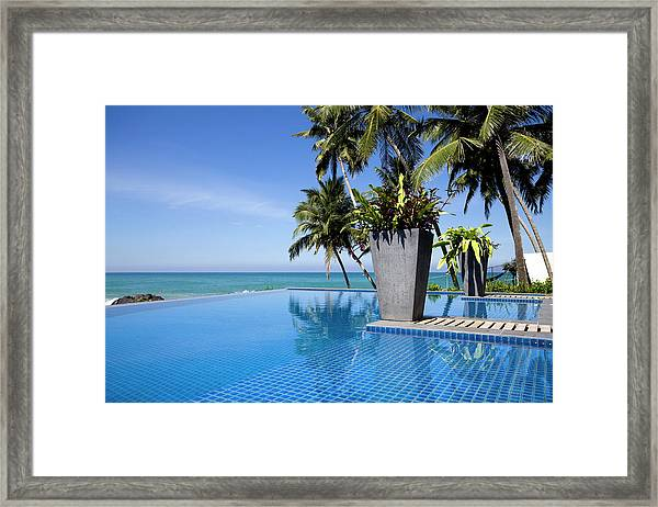 Villa Hotel Swimming Pool Sri Lanka Framed Print by Laughingmango