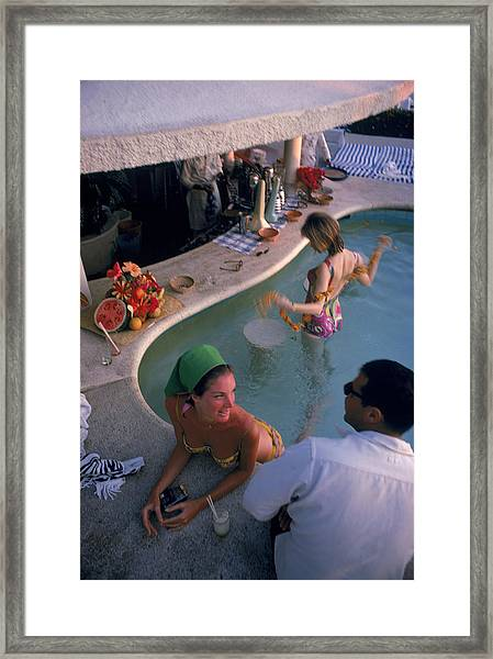 Villa Vera Pool Bar Framed Print by Slim Aarons