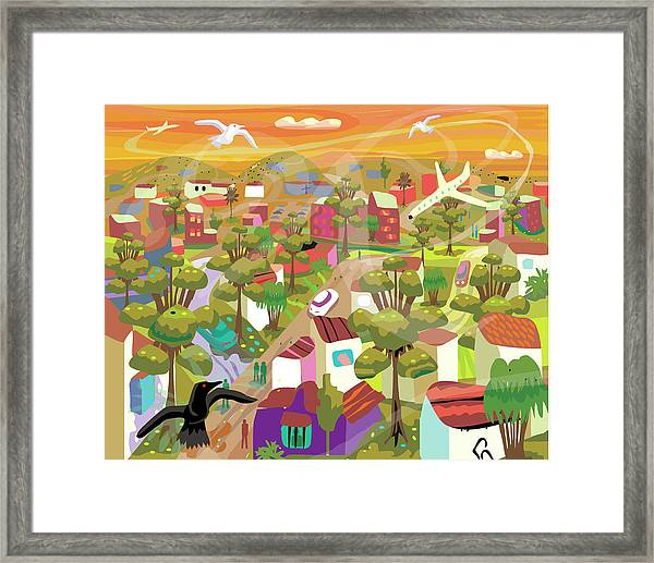 Village In Movement And Child Like Framed Print by Charles Harker