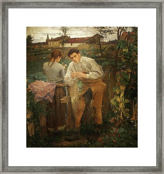Village Lovers Framed Print by Jules Bastien-Lepage