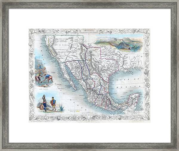 Vingage Map Of Texas, California And Mexico Framed Print
