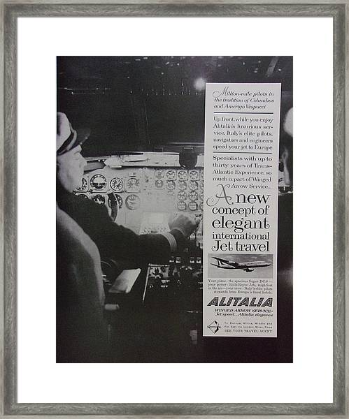 Vintage Alitalia Airline Advertisement Framed Print