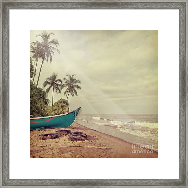 Vintage Beach Background Framed Print by Sundari