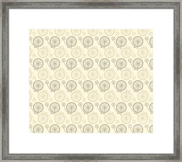 Vintage Bicycle Pattern Framed Print