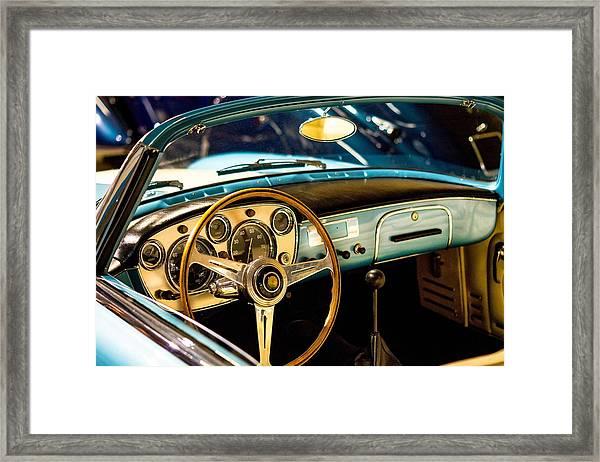 Vintage Blue Car Framed Print