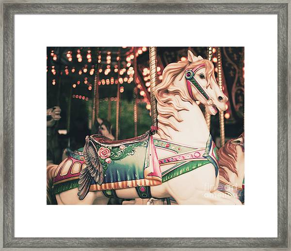 Vintage Carousel Horse Framed Print by Andrekart Photography