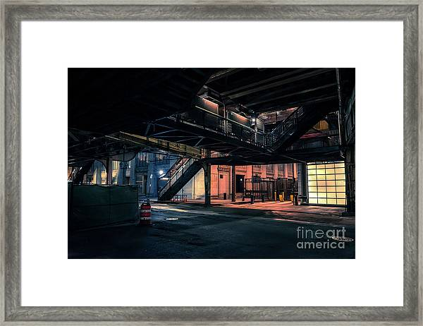 Vintage Chicago L Station At Night Framed Print
