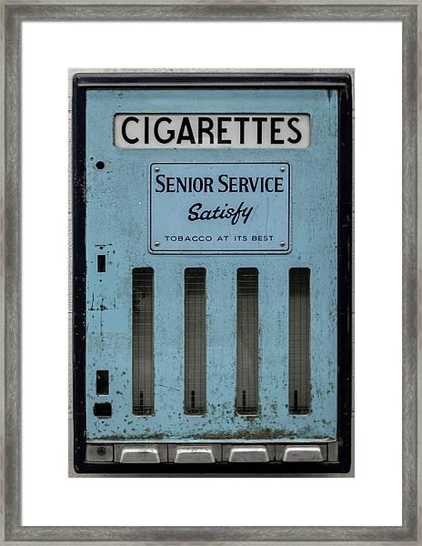 Framed Print featuring the photograph Senior Service Vintage Cigarette Vending Machine by Scott Lyons