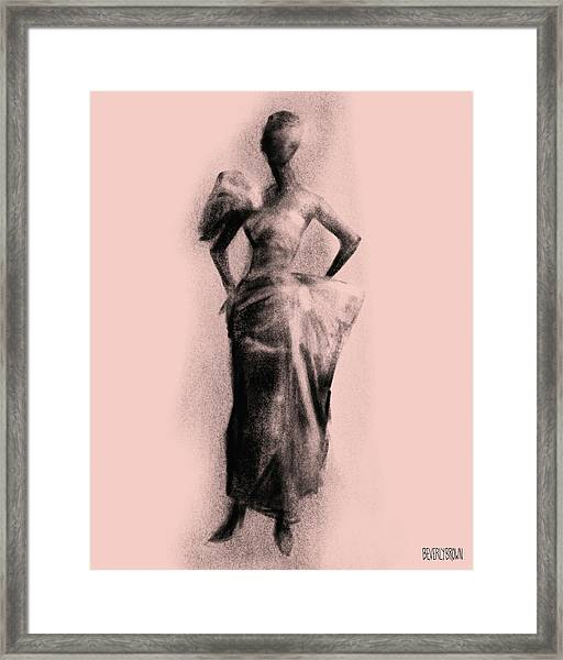 Vintage Fashion Evening Gown Framed Print by Beverly Brown