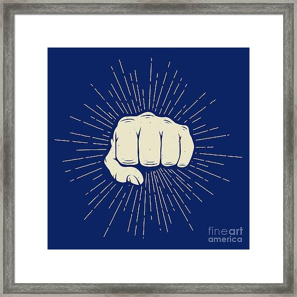 Vintage Fist With Sunbursts In Retro Framed Print