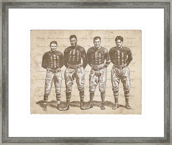 Framed Print featuring the drawing Vintage Football Heroes by Clint Hansen