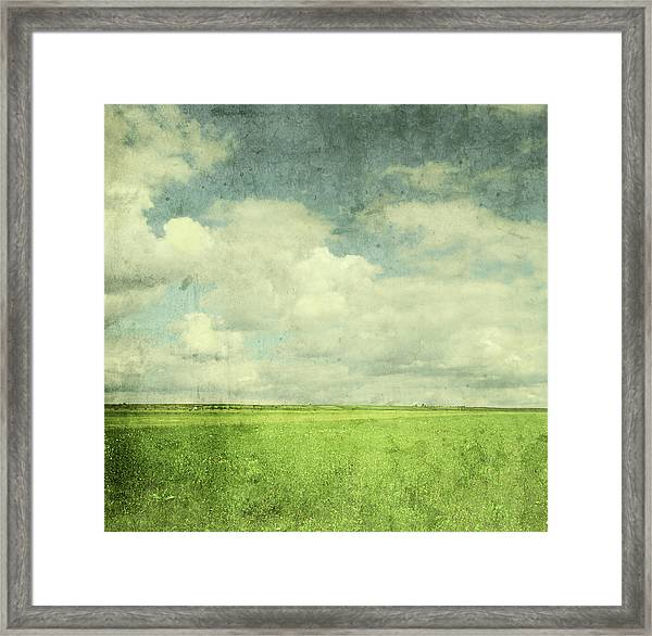 Vintage Image Of Green Field And Blue Framed Print