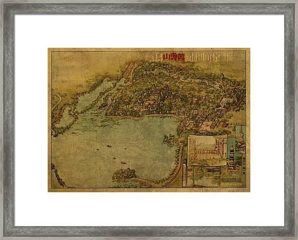 Vintage Map Of Beijing China Summer Palace 1954 Framed Print