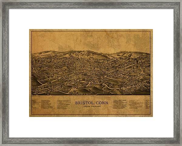 Vintage Map Of Bristol Connecticut 1889 Framed Print