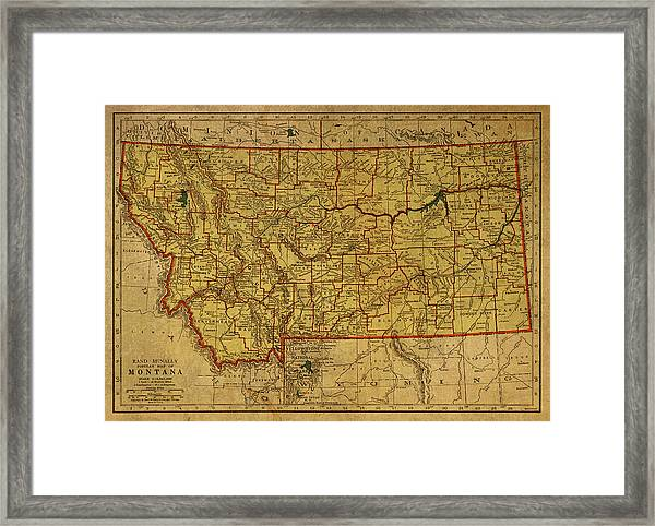 Vintage Map Of Montana Framed Print