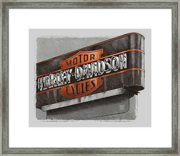 Framed Print featuring the drawing Vintage Motorcycle Shop by Clint Hansen