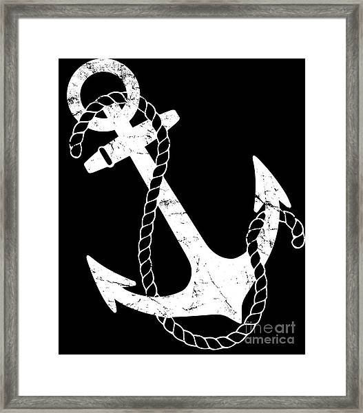 Framed Print featuring the digital art Vintage Nautical Anchor by Flippin Sweet Gear