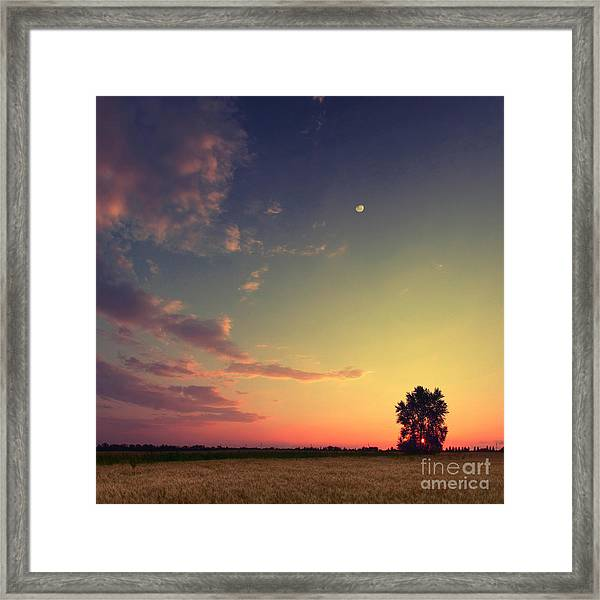 Vintage Picture. Sunset With Moon And Framed Print