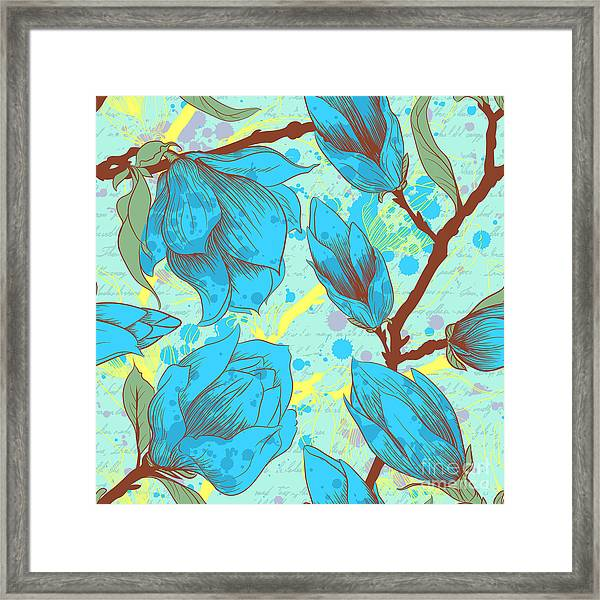 Vintage Seamless Pattern With Magnolia Framed Print by Elena Eskevich