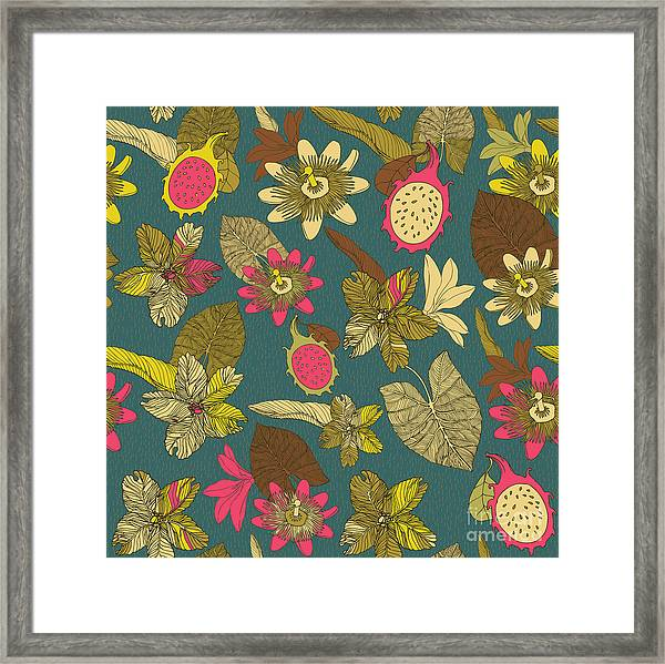 Vintage Seamless Tropical Flowers With Framed Print