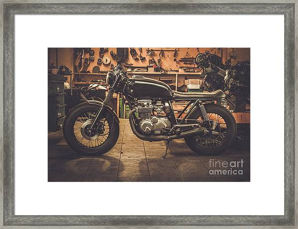 Vintage Style Cafe-racer Motorcycle In Framed Print