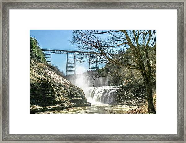 Vintage Train Trestle With Waterfalls Framed Print