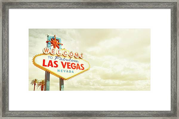 Vintage Welcome To Fabulous Las Vegas Framed Print