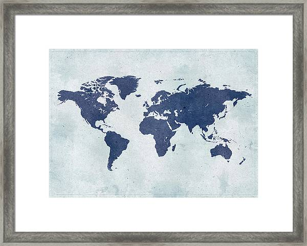 Vintage World Map Framed Print by Yorkfoto