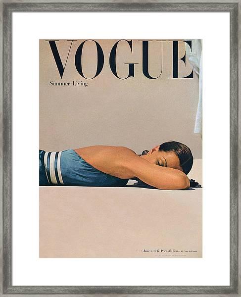 Vogue Magazine June 1st, 1947 Framed Print by John Rawlings