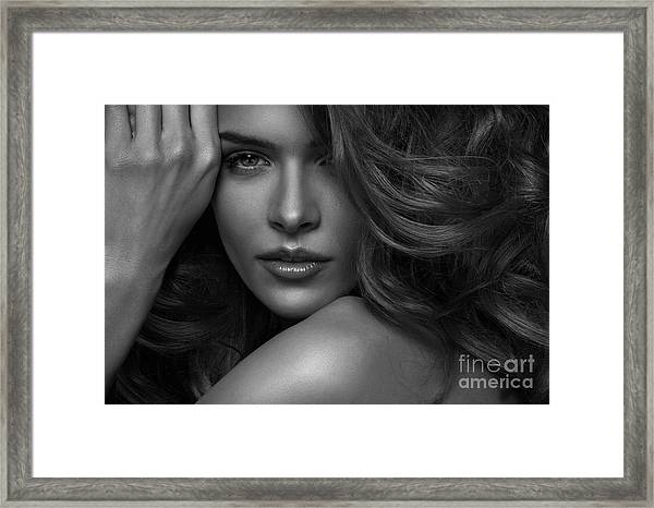 Vogue Style Photo Of Sensual Woman Framed Print