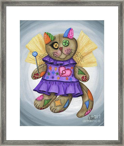 Voodoo Empress Fairy Cat Doll - Patchwork Cat Framed Print