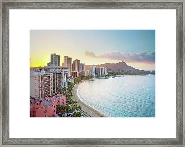 Waikiki Beach At Sunrise Framed Print
